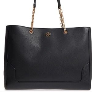 Tory Burch Black Leather Marsden XL Tote Shoulder